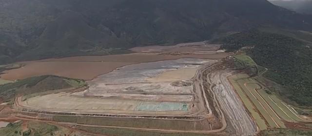 Barragem Doutor, na mina Timbopeba, em Ouro Preto, da mineradora Vale — Foto: Reprodução/TV Globo